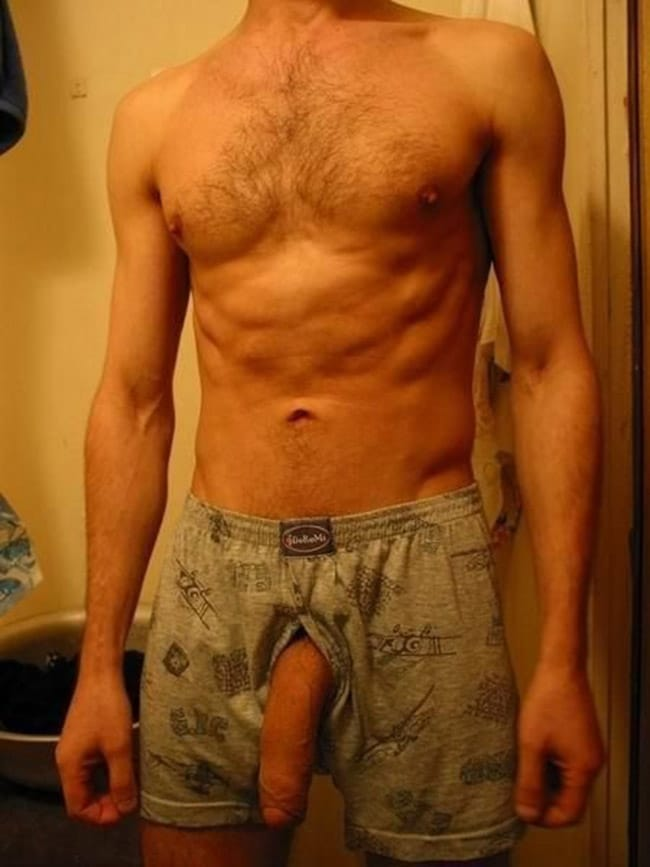 Hairy Skinny Male Shows His Cock - Nude Men Pictures