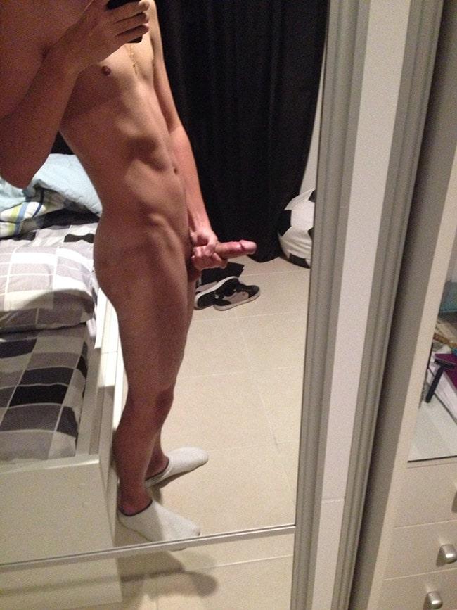 Skinny Dude Holds Dick