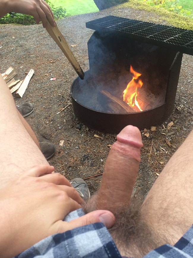 Crazy Cock In Front Of The Fire