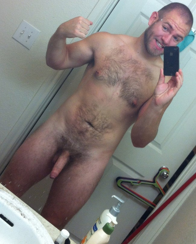 Nude Mirror Men - Hot Male With Hairy Body And Dick