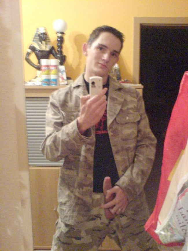 Military Guy Pose WIth Dick Out - Nude Men Pictures