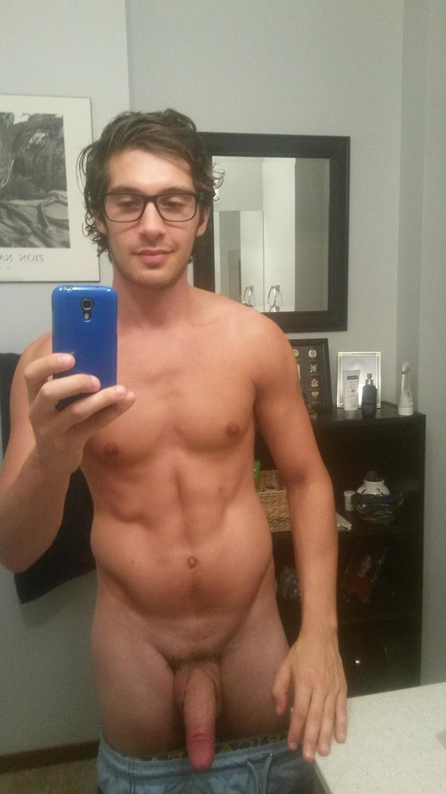 Hot Stud With Glasses Showing Cock