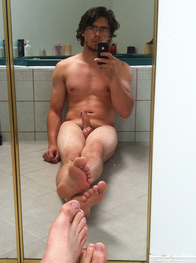 Nude Mirror Men - Nude Dude With Glasses & Hot Dick